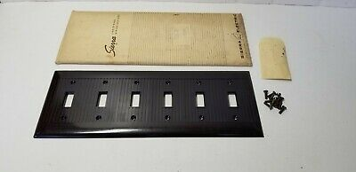 Vintage Sierra Ribbed Bakelite 6 Gang Toggle Switch Wall Plate Cover Brown