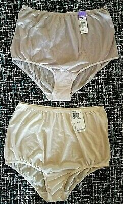 NWT LOT OF 2 VTG VANITY FAIR NYLON GRANNY PANTIES USA MADE sz 8