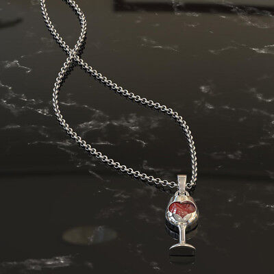 BU_ GC- Women Elegant Faux Ruby Love Heart Wine Glass Pendant Chain Necklace Jew