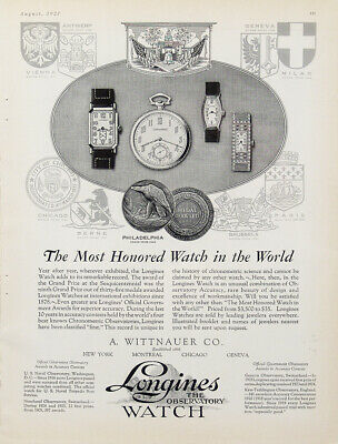 1927 Longines Watch By Wittnauer Vintage Magazine Ad