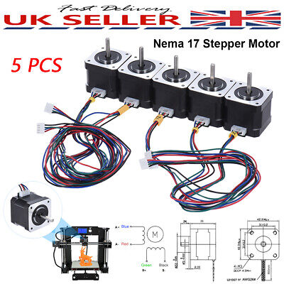 5pcs Nema 17 Stepper Motor 2 Phase 0.9A 0.4N.M 42mm For CNC DIY 3D Printer Part