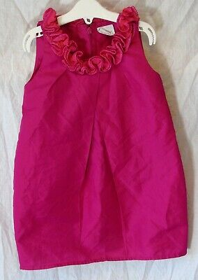 Girls Next Fuchsia Pink Shimmer Ruffle Neck Sleeveless Party Dress Age 3 Years