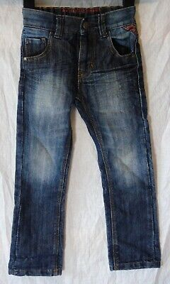 Boys Next Dark Blue Whiskered Denim Adjustable Waist Regular Jeans Age 4 Years