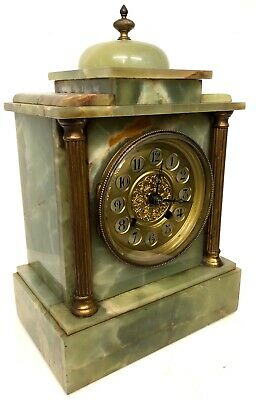 Antique Onyx Cased Mantel Clock With Pillars To The Front And Finial To The Top