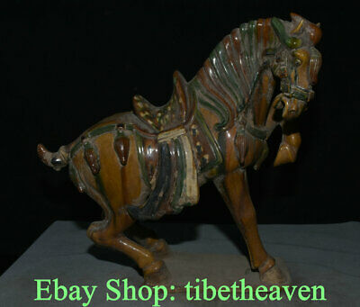 "13.6"" Old Chinese Tang Sancai Pottery Dynasty War Horse Steed Success Sculpture"