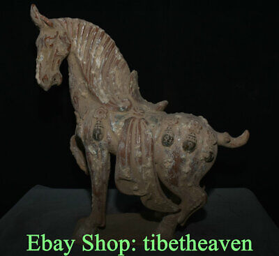 "17.6"" Old Chinese Tang Sancai Pottery Dynasty War Horse Steed Success Sculpture"