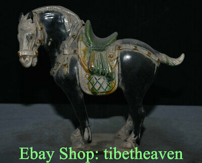 "9.4"" Old Chinese Tang Sancai Pottery Dynasty War Horse Steed Success Sculpture"
