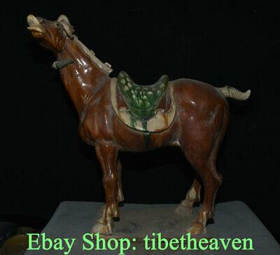 "22"" Old Chinese Tang Sancai Pottery Dynasty War Horse Steed Success Sculpture"
