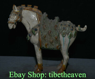 "9.6"" Old Chinese Tang Sancai Pottery Dynasty War Horse Steed Success Sculpture"