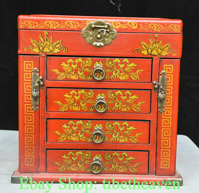 "12.8"" Old Chinese Red lacquerware Wood Dragon Phoenix Flower Drawer Jewelry Box"