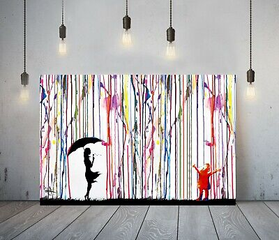Banksy Coloured Rain Girl Umbrella 2-Deep Framed Canvas Wall Art Graffiti Print