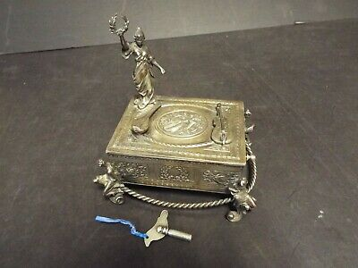 Antique Automation Decorative Working Bird Box - Circa 1900's - Silver Plated