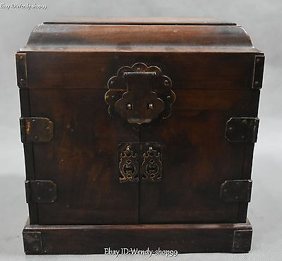 "10"" Collect Chinese Rosewood Wood Carved Drawers Ancient Jewel Case Jewelry Box"
