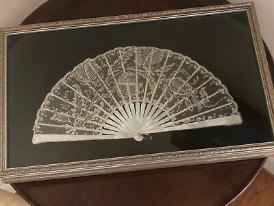 Antique Framed 19 Century Point De Gaze Belgian Lace with Sequins Pearl Hand Fan