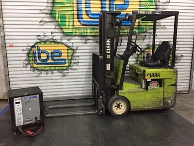 Clark TMG15 Electric Forklift & Battery Charger- 2500lb Capacity
