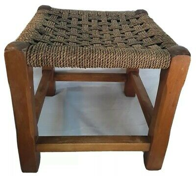 Vintage Wooden Stool - Woven String Raffia ?? Top - For Restoration 12x12x11inch