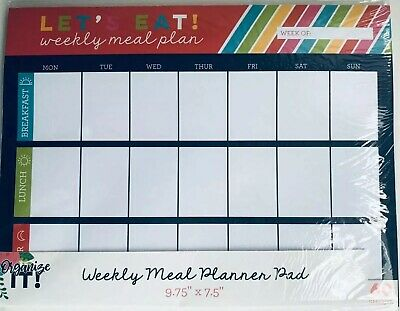 "3 Birds Design Weekly Meal Planner Pad  9.75"" X 7.5"" 60 Sheets"