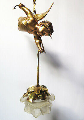 A Earlier 20Th Century Gilt Cherub Hanging Chandelier With Rose Shade
