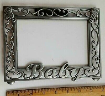 Picture Frame. baby Metal Filigree Scrollwork. by Malden.  Has 2 Fancy Rattles.