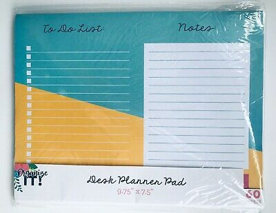 """3 Birds Design Desk Planner Pad To Do List & Notes 9.75"""" X 7.5"""" 60 Sheets"""