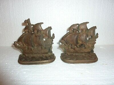 Vtg 1926 A.M. Greenblatt Studios Galleon of The Time of Elizabeth Bookends  S-37