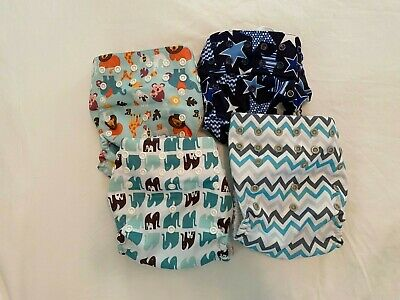 Lot of 4 Mama Koala One Size Pocket Cloth Diapers,  with 4 Inserts
