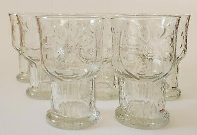 """Libbey Glass Country Garden Water Goblet Clear 5"""" Tall Set of Eight Flowers"""