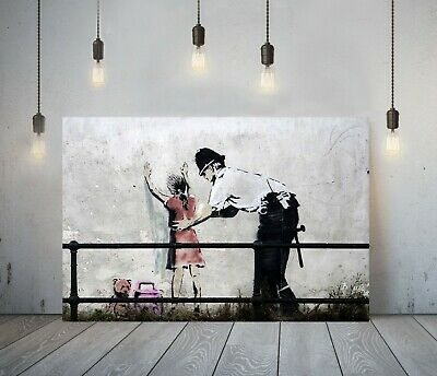 Banksy Kid Stop And Search -Deep Framed Canvas Wall Art Graffiti Print- Red