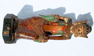 ANTIQUE EARLY 1900s BALINESE POLYCHROME PAINTED GILDED WOODEN TEMPLE SCULPTURE