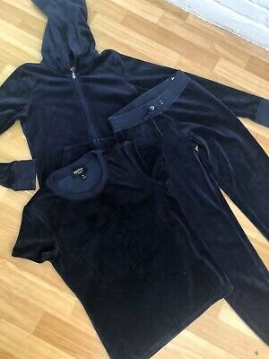 Juicy Couture Tracksuit Velour Navy Blue Age 12 XS Bottoms Hoodie & Top