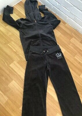 Juicy Couture Tracksuit Velour Age 12 Dark Grey Hoodie & Bottoms