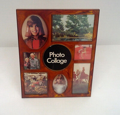 vintage brown lucite plastic 8 photo collage picture frame easel back