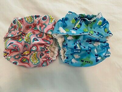 Lot of 2 Fuzzibunz One Size Pocket Cloth Diapers- plus 4 inserts