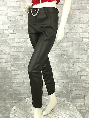 Givenchy Brown Leather Stretch Dress Pants 6 US 42 IT M Slacks Runway Auth