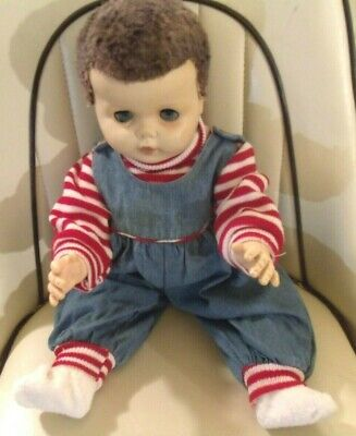 """1950's BABY DOLL 22"""" DRINK & WET, CARACUL WIG"""