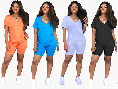 Women Short Sleeves Solid Color Casual Club Bodycon Stretch Short Pants Set 2pc