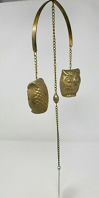Vintage Brass Owls Chime Bell Wind Chimes Dinner Bell