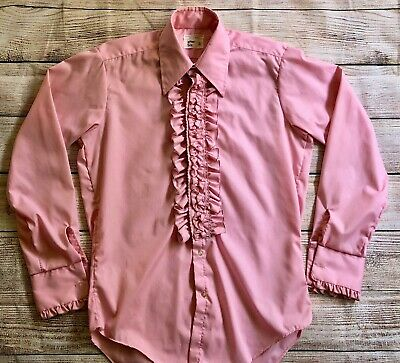 Men's Vintage 70s After Six Ruffled Pink French Cuff Tuxedo Prom Shirt 15/35