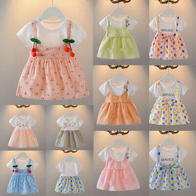 Toddler Infant Baby Girls Fruit Print Strap Patchwork Princess Dress Outfits
