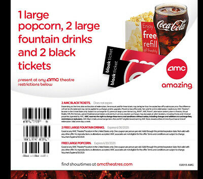 2 AMC Movie Theater Black Tickets, 2 Large Drinks, and 1 Large Popcorn