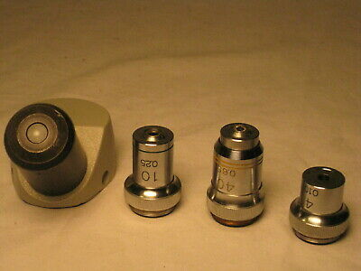 vintage Bausch Lomb microscope optical parts lenses lens .1 .25 .65 10x eyepiece