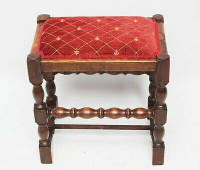 Antique Victorian Oak Stool with Bobbin Stretchers [5988]