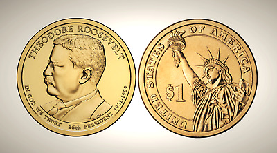 2013 D Theodore Roosevelt Presidential Series Dollar UNC MS Uncirculated!!
