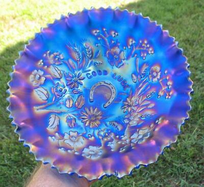 "Northwood Royal Blue Carnival Glass Pce  ""Good Luck""  Ruffled Bowl"