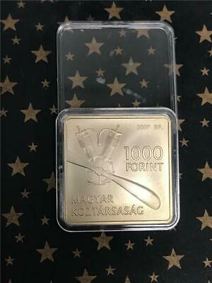 Square coin Hungary 1000 Ft 2007 BU First Hungarian Airplane