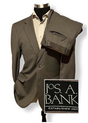Jos A Bank Mens Wool Cashmere Two Piece Suit Gray Stripe Size 40R 33/30