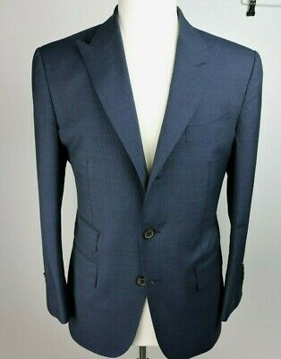 SuitSupply Blue Pinstripe Wool Peak Lapel Jacket Pants Suit - 40 S/ 34 W