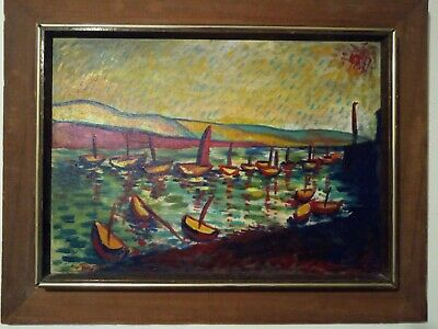"""Wassily Kandinsky Attr Oil On Canvas Painting """"Boats"""" Signed Framed Old Rare"""