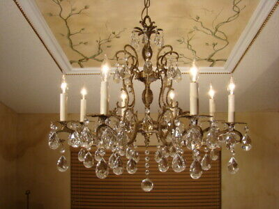 Beautiful Old Bronze Brass & Crystal Double Pineapple Chandelier