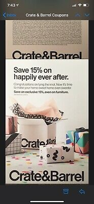 Crate and Barrel 15% off RARE COUPON - works on furniture - exp. 07-30-20 - FAST